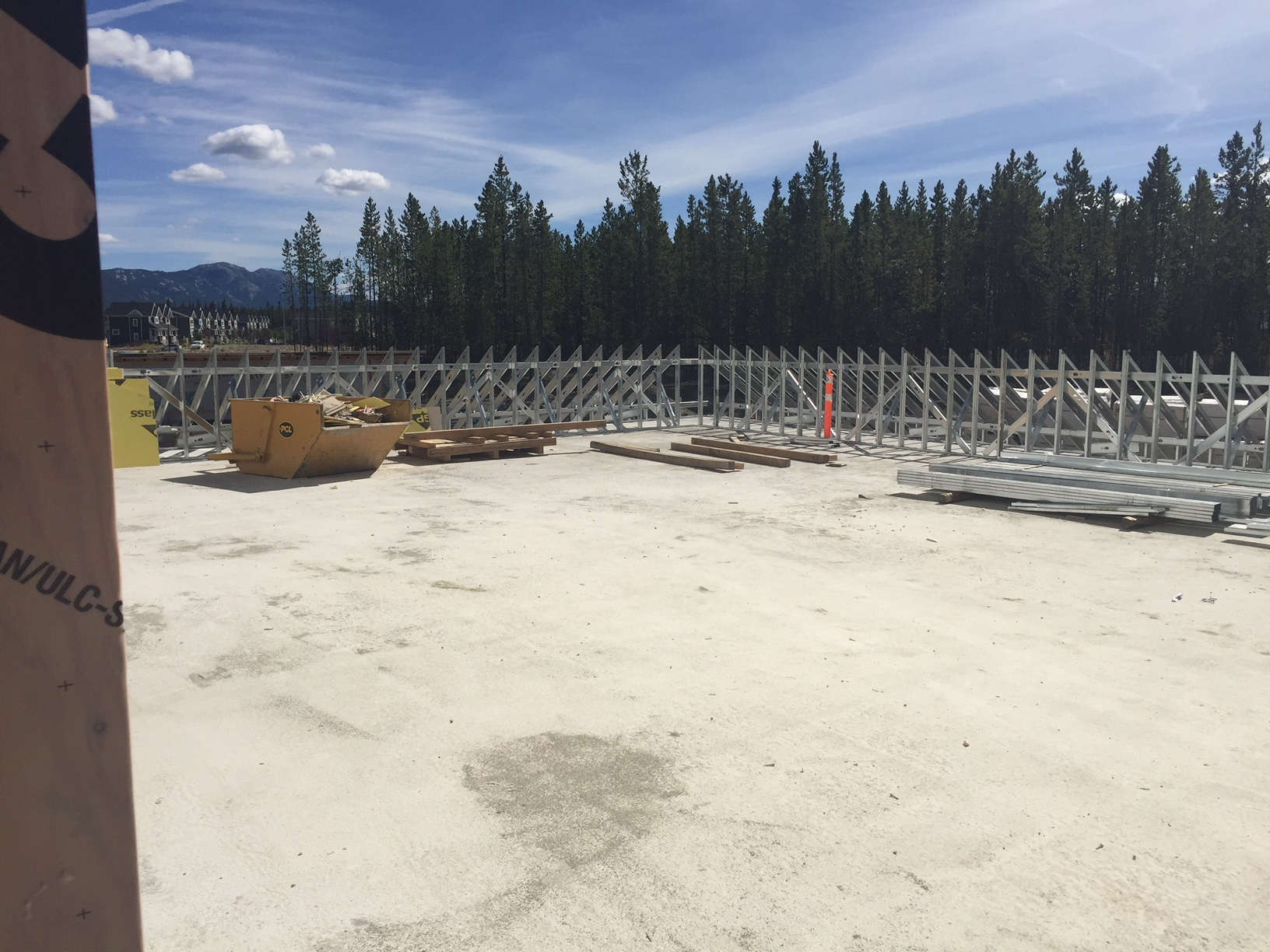 Concrete poured and dried on comslab