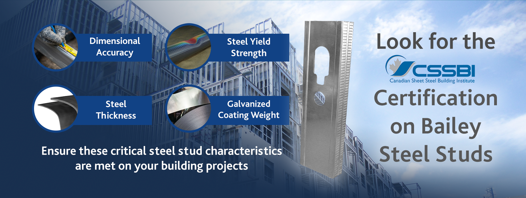 Look for Bailey Steel Stud Certification 2020